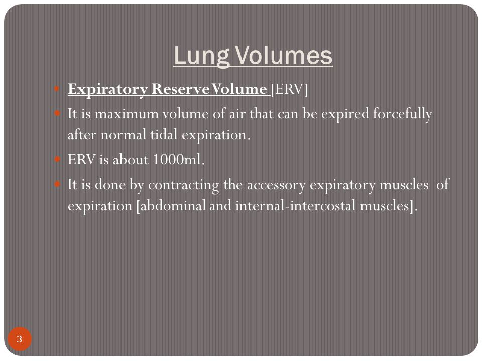 Lung Volumes Expiratory Reserve Volume [ERV]